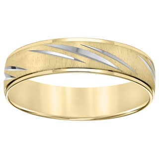 Cambridge Lightweight 10k Two-tone Gold Men's Diamond-cut Wedding Band