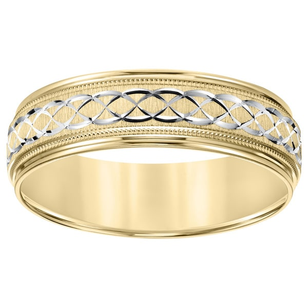 Cambridge Lightweight 14k Two Tone Gold Menx27s Engraved Wedding Band