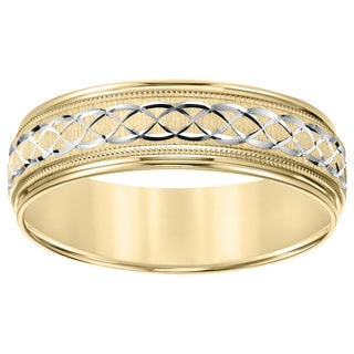 Cambridge Lightweight 14k Two-tone Gold Men's Engraved Wedding Band
