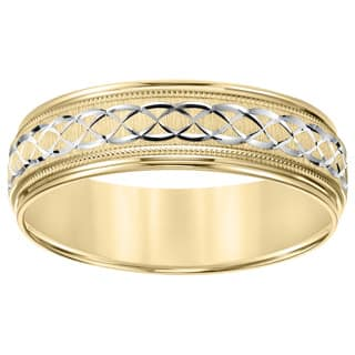 Cambridge 14k Two-tone Gold Men's Engraved Wedding Band|https://ak1.ostkcdn.com/images/products/10168231/P17296227.jpg?impolicy=medium