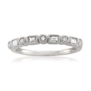 Montebello 14k White Gold 1/4ct TDW White Diamond Vintage-Style Milgrain Wedding Band