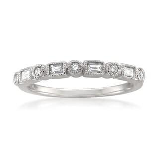 Montebello 14k White Gold 1/4ct TDW White Diamond Vintage-Style Milgrain Wedding Band