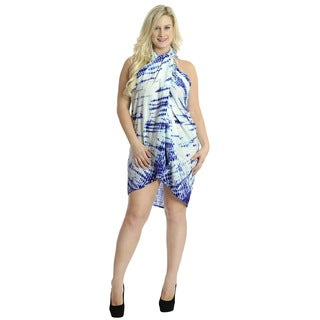 La Leela Circle Tie Dye Rayon Beach Hawaiian Swim Pareo Wrap Sarong Royal Blue