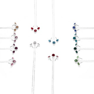 Isla Simon with Swarovski Crystals Silver Plated Birthstone 10mm Crystal Necklace and Earring Set
