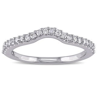 Miadora 14k White Gold 1/4ct TDW Diamond Curved Wedding Band