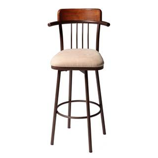 Fashion Bed Group Augusta Chestnut Upholstered Swivel-seat and Hammered Copper Finish Metal Bar Stool/ Cou