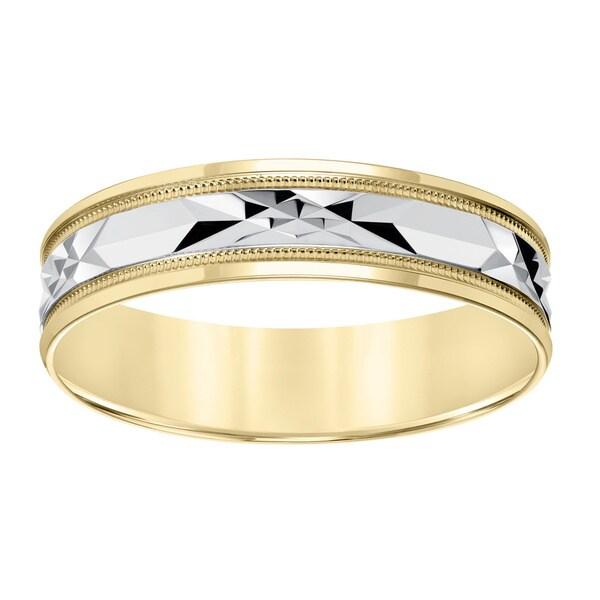 Cambridge Lightweight 10k Yellow Gold Menx27s Milgrain Engraved Wedding Band
