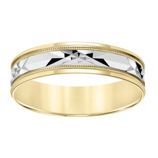 Cambridge Lightweight 10k Yellow Gold Men's Milgrain Engraved Wedding Band
