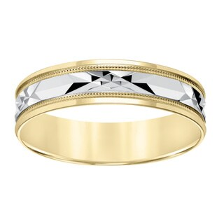 Cambridge Lightweight 10k Yellow Gold Men's Milgrain Engraved Wedding Band (More options available)