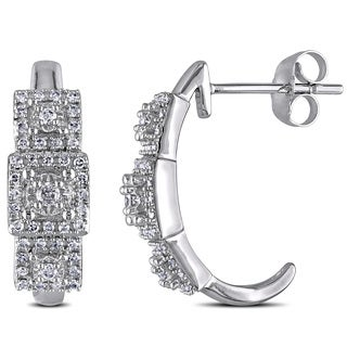 Miadora 10k White Gold 1/3ct TDW Diamond Earrings