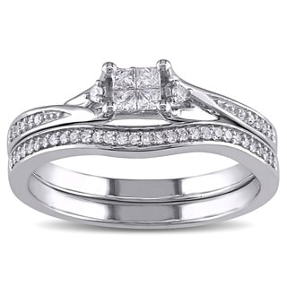 Miadora 10k White Gold 1/4ct TDW Princess-cut Quad and Round Diamond Engagement Wedding Bridal Ring Set (G-H, I1-I2)