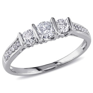 Miadora 10k White Gold 1/2ct TDW Diamond 3-stone Engagement Ring
