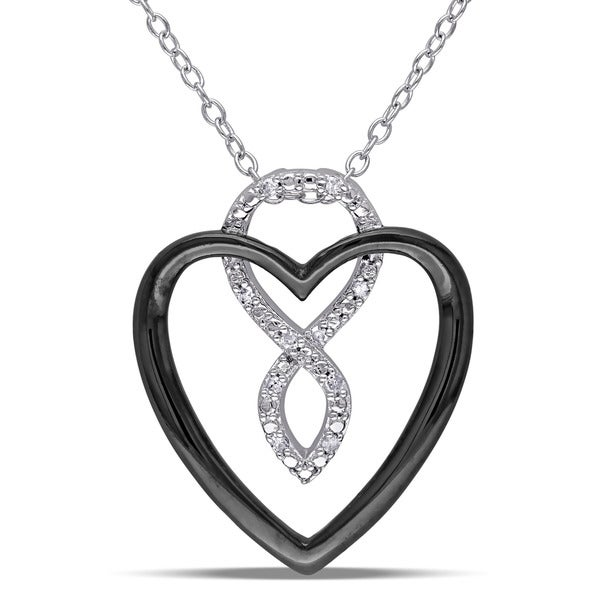 Miadora Sterling Silver Diamond Accent Heart Infinity Necklace