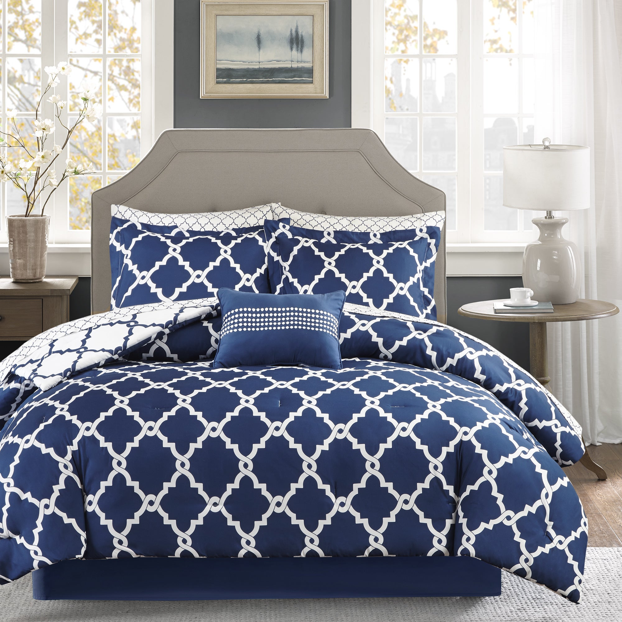 Madison Park Essentials Cole Navy Reversible Complete Comforter and Cotton Sheet Set