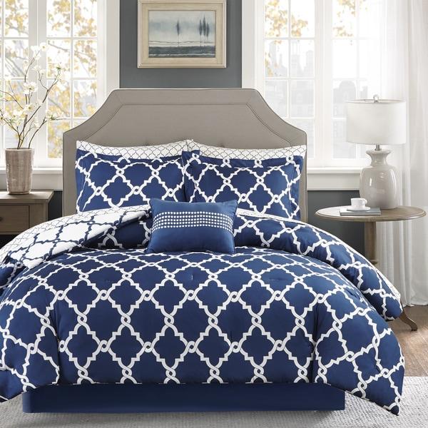Clay Alder Home Denver Navy Reversible Complete Comforter and Cotton Sheet Set