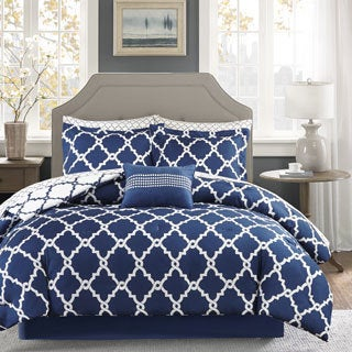 Clay Alder Home Denver Navy Reversible Complete Comforter and Cotton Sheet Set
