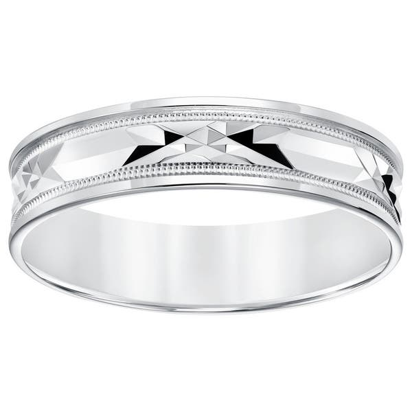 Shop 10 Karat White Gold Lightweight Mens Wedding Band With Milgrain Detail On Sale Overstock 10168275