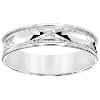 10k White Gold Men's Engraved Milgrain Wedding Band