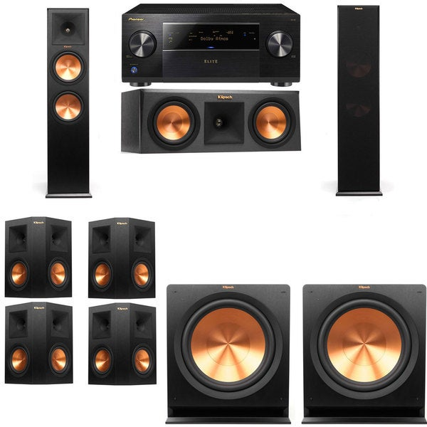pioneer elite sc 85 7 2 channel receiver and klipsch tower center subwoofers surround 9. Black Bedroom Furniture Sets. Home Design Ideas