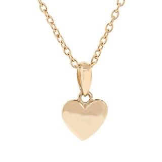 Pori 14k Yellow Gold Overlay Puff Heart Pendant Necklace