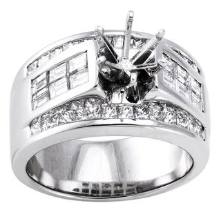 Beverly Hills Charm 18k White Gold 1 3/4ct TDW Diamond Semi-mount Engagement Ring