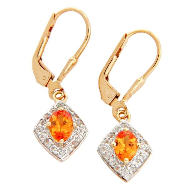 Gold Plated Sterling Silver Mandarin Garnet Leverback Earrings