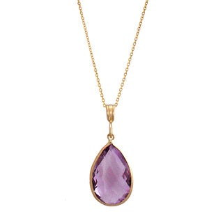 14k Yellow Gold Pear-cut Pink Amethyst Necklace