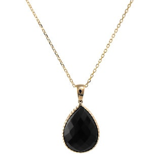14k Yellow Gold Faceted Pear-cut Onyx Necklace