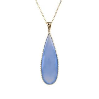 14k Yellow Gold Bezel-set Pear-cut Chalcedony Necklace