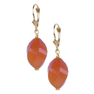 14k Yellow Gold Twisted Pear-cut Faceted Carnelian Earrings