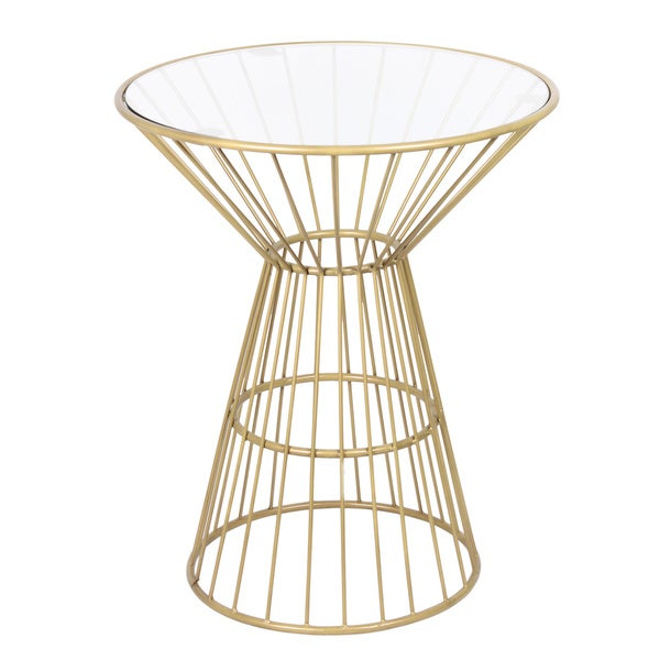 Superieur Gold Wire Framed Side Table With Glass Top