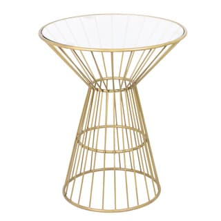 Gold Wire Framed Side Table with Glass Top