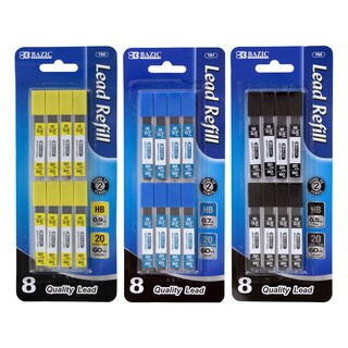 Bazic 0.5mm, 0.7mm, 0.9mm Mechanical Pencil Lead Refills (20 Leads Per Tube/ Pack of 24)