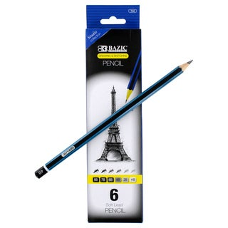 Bazic Drawing and Sketching Assorted Hardness Soft Lead Pencils (Pack of 6)