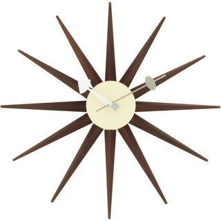 Carson Carrington Norre Dark Walnut Color Sunburst Clock