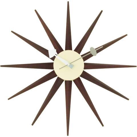 Carson Carrington Norre Dark Walnut Color Sunburst Clock