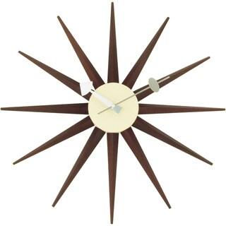 Link to Carson Carrington Norre Dark Walnut Color Sunburst Clock Similar Items in Decorative Accessories