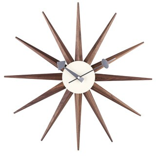 Hans Andersen Home Walnut Sunburst Clock