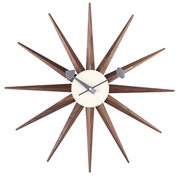 Shop Hans Andersen Home Walnut Sunburst Clock Free