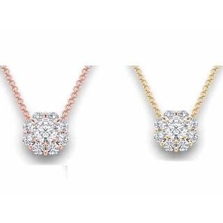 De Couer 14k Gold 1ct TDW Diamond Flower Cluster Necklace (H-I, I2)