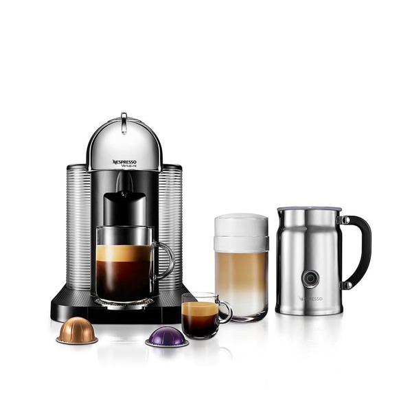 Nespresso VertuoLine Coffee and Espresso Maker with Aeroccino Plus Milk Frother, Chrome
