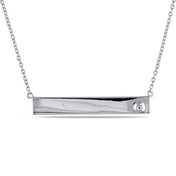 Miadora Sterling Silver White Sapphire Bar Necklace