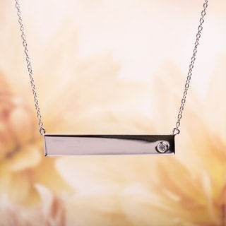 Miadora Sterling Silver White Sapphire Bar Necklace