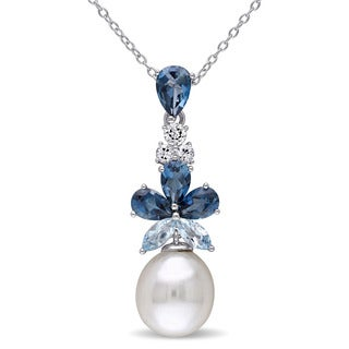 Miadora Sterling Silver Cultured Freshwater Pearl and Topaz Drop Necklace (9.5-10 mm)