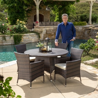 Christopher Knight Home Rodgers Outdoor Multi-Brown 5-piece Dining Wicker Set with Cushions