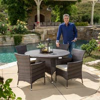 Rodgers Outdoor Multi-Brown 5-piece Dining Wicker Set with Cushions by Christopher Knight Home