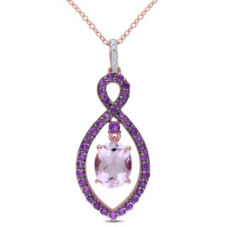 Miadora Rose Plated Sterling Silver Rose de France, Amethyst-Africa and Diamond Accent Infinity Necklace