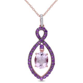 Miadora Rose Plated Sterling Silver Rose de France, Amethyst-Africa and Diamond Accent Infinity Necklace https://ak1.ostkcdn.com/images/products/10170150/P17298414.jpg?impolicy=medium