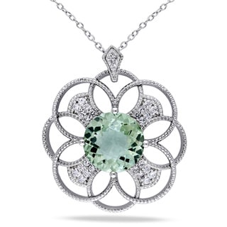 Miadora Sterling Silver Green Amethyst, Created White Sapphire and Diamond Accent Flower Necklace
