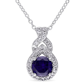 Miadora Sterling Silver Created Blue and White Sapphire Birthstone Braided Drop Necklace